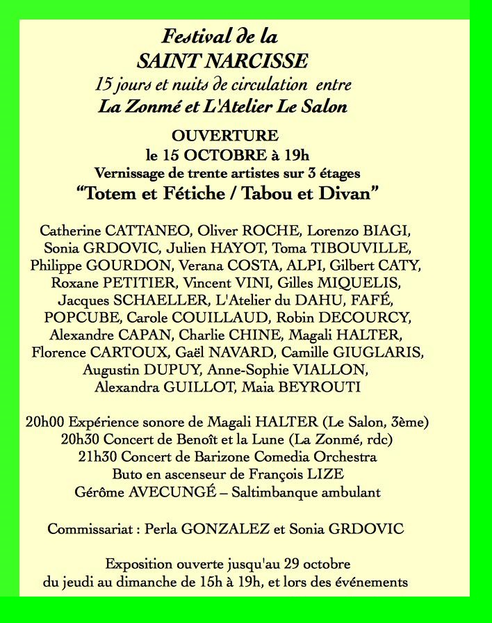 Programme de l'ouverture le 15 octobre