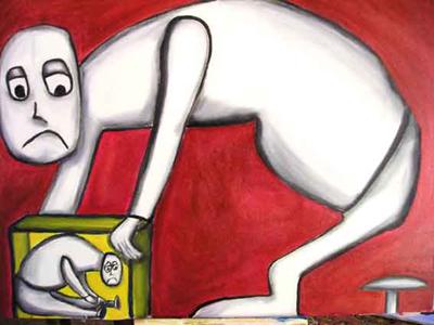Michel Ventino, peinture, Parent qui éduque son enfant